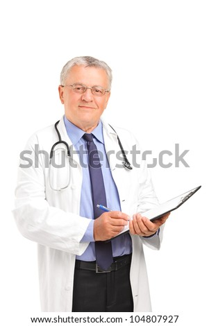 A mature healthcare professional holding a clipboard and posing isolated on white background - stock photo