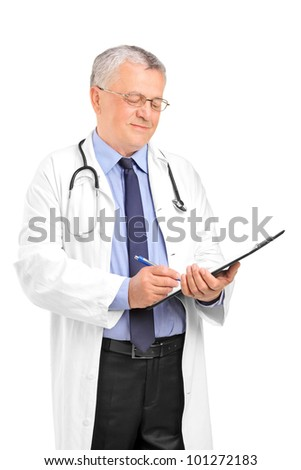 A mature healthcare professional writing down notes isolated on white background - stock photo