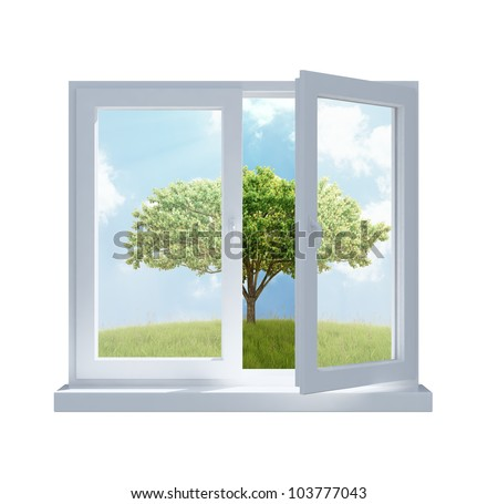 A meadow with a tree viewed through a partially opened window in a sunny day - stock photo