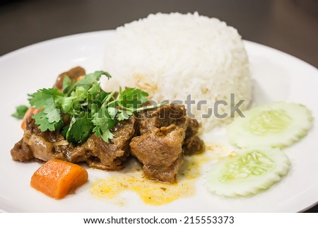 A meal of white rice and stew on a white plate, shallow depth of field - stock photo