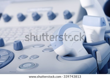 a medical equipment background, close-up ultrasound machine - stock photo