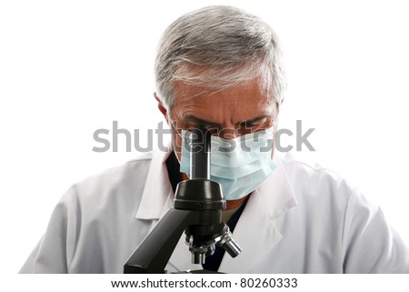 a medical research scientist or chemist works in hi lab.    isolated on white with room for your text. . - stock photo