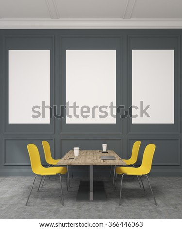 A meeting room with a wooden table in the centre, four yellow chairs around it. Black wall with rectangular decor at the background with three blank frames. Concept of negotiations. 3D rendering - stock photo
