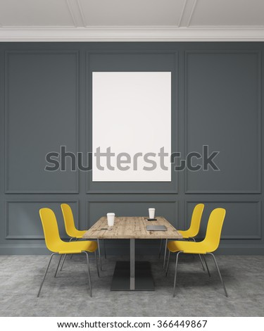 A meeting room with a wooden table in the centre, four yellow chairs around it. Black wall with rectangular decor at the background with a blank frame. Concept of negotiations. 3D rendering - stock photo