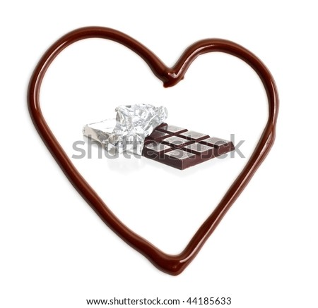 A melted chocolate heart - stock photo