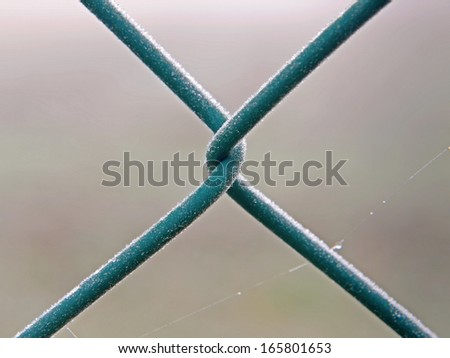 A mesh wire fence covered with ice crystals.  - stock photo