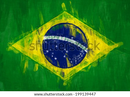 A messy painting of the flag of Brazil. - stock photo