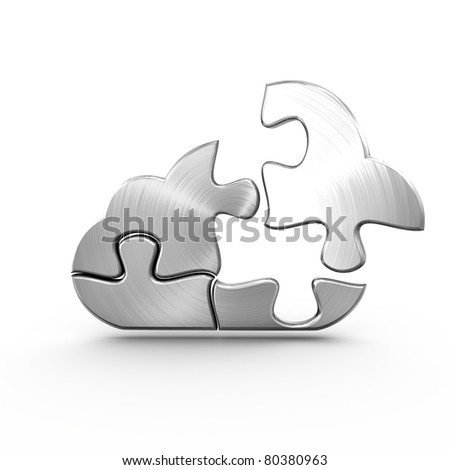 A metal cloud computing jigsaw with a detached piece - stock photo