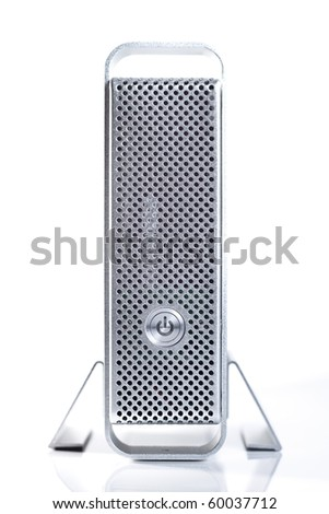 A metal external usb / firewire backup hard drive enclosure on white background - stock photo