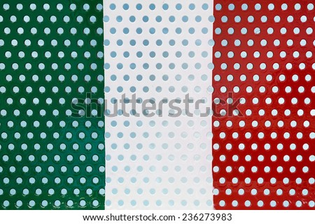 A Metal Mesh Painted in Colors of Italian Flag, Red, White and Green. Mildly Weathered. - stock photo