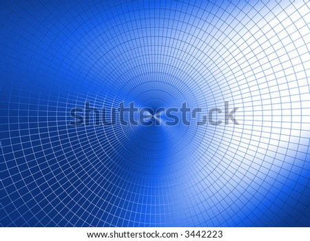 a metallic network overflows a color on a dark blue gradient background - stock photo