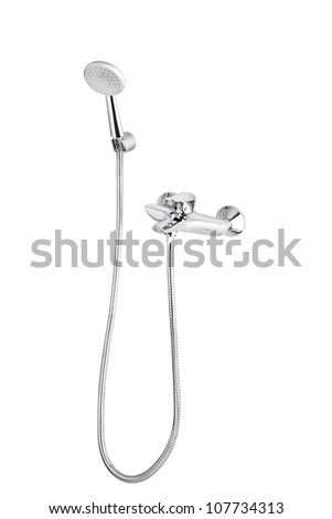 A metallic shower head with faucet - stock photo