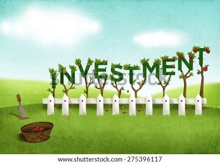 A metaphor of investment financial industry where the growth of money is like planted trees that can grow and bear fruits in a very safe farm. Textured Digital Art Illustration.  - stock photo
