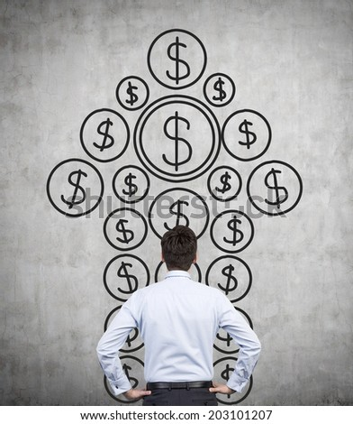A metaphor of private equity investments. A businessman thinking about investment opportunities in front of a wall with the dollar arrow sketch. - stock photo