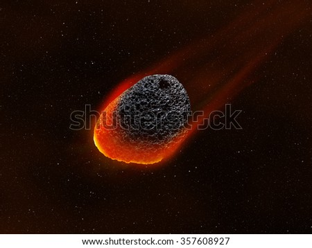 A Meteor / Asteroid glowing in the deep space. - stock photo