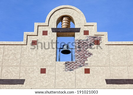 A Mexican Style Bell Tower Wall - stock photo