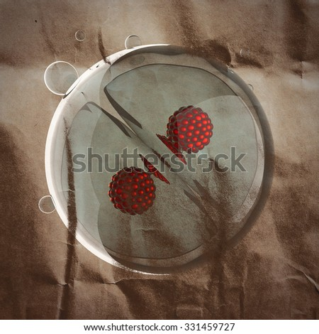 A micro cell division process illustration painted on paper - stock photo