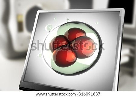 A micro cell on monitor in laboratory - stock photo