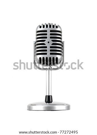 A microphone isolated against a white background - stock photo