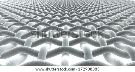 A microscopic macro close up perspective view of a simple woven fabric pattern and threads on an isolated white background - stock photo
