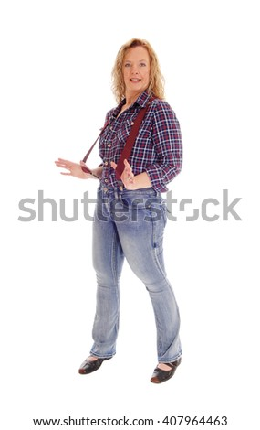 A middle age lovely woman standing isolated for white background in 