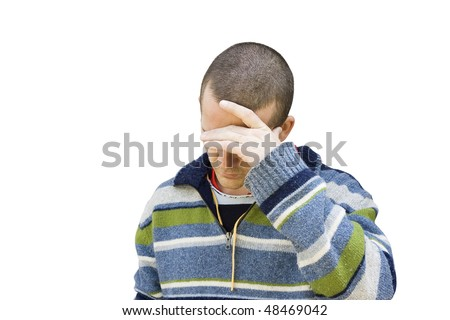 A middle aged man  holds his head down and covers his eyes.  It could be shame, sadness, bad news or depression. - stock photo