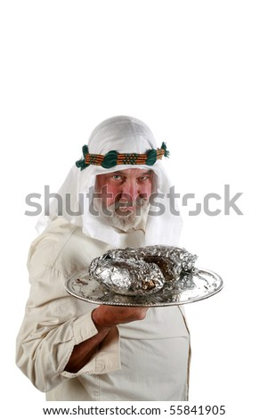 a middle eastern waiter brings hot food on a silver platter isolated on white - stock photo