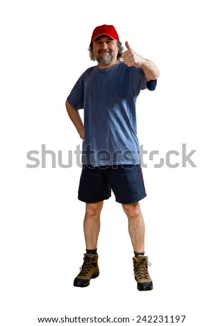 a midlife sportsman on the white background - stock photo