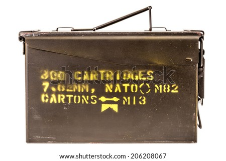 a military ammo box isolated over a white background - stock photo