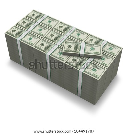 A million dollar stack of US banknotes on white background - stock photo