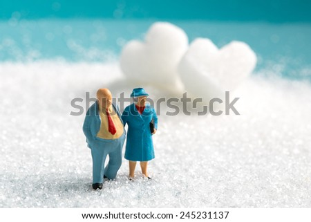 a miniature Senior couple walking on the snow in winter time with White Sugar in heart shape  - stock photo