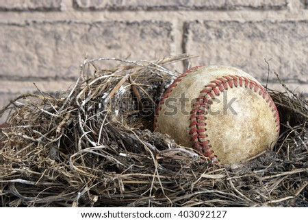 A miscellaneous concept that could represent a professional major league player being born or a pro baseball athlete being able to retire from the sport. - stock photo