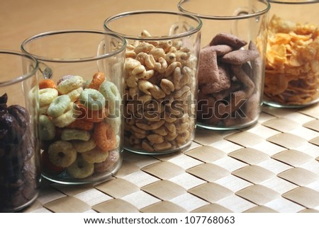 a mix of breakfast cereals - stock photo