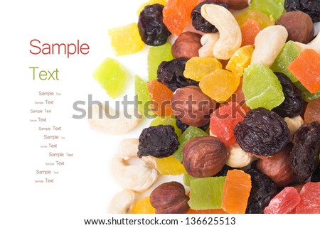 A mixture of dried fruits - background - stock photo