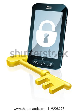 A mobile phone security concept. Mobile phone with gold key and padlock lock icon on the screen - stock photo