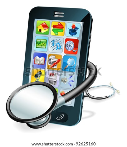 A mobile phone with stethoscope wrapped round it. Problem diagnosis concept - stock photo