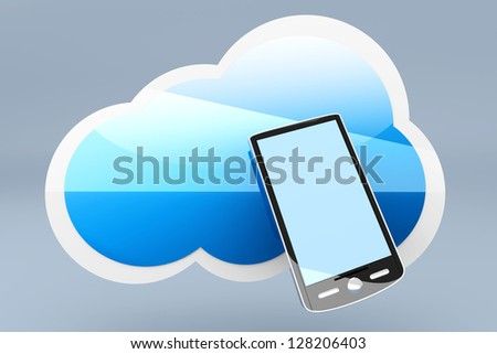 A mobile Smartphone cloud. 3d rendered Illustration. - stock photo
