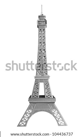 A model Eiffel tower of cardboard isolated on white. Clipping path. - stock photo
