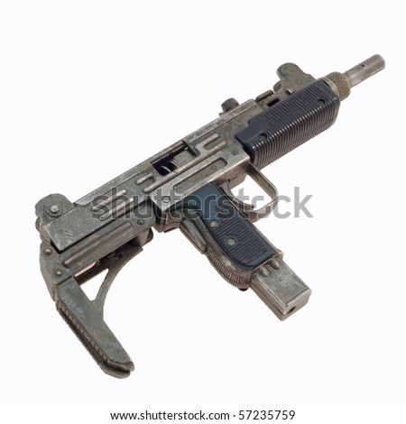 A model 9mm machine gun against a white background - stock photo