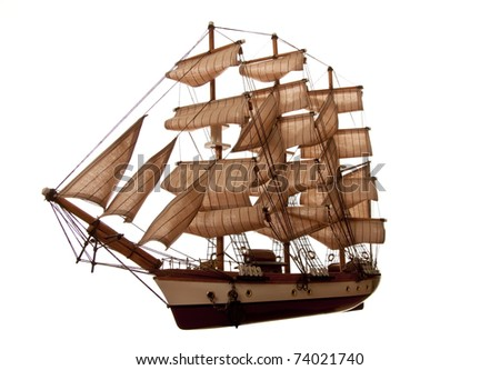 A model of an old clipper on a white background.  silhouette - stock photo
