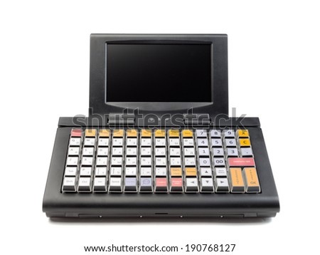 A modern cash register on a white background. - stock photo