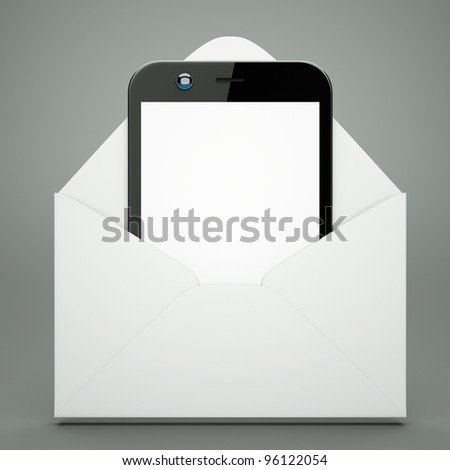 a modern cellphone in envelope  on grey - stock photo
