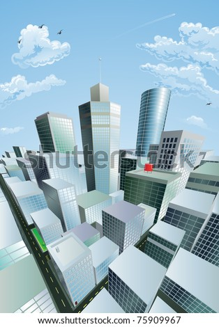 A modern cityscape of a city centre financial district with high rise skyscrapers - stock photo