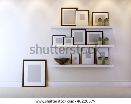 a modern 3d interior composition - stock photo
