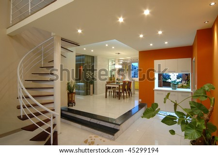 a modern dining room in Western style - stock photo