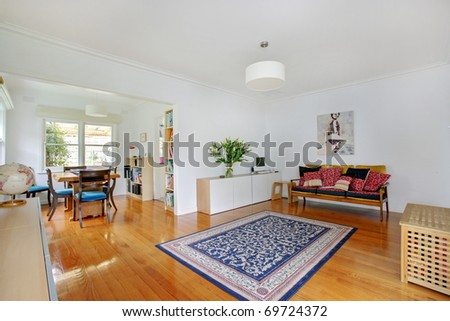 A Modern Kitchen and Dining Room - stock photo
