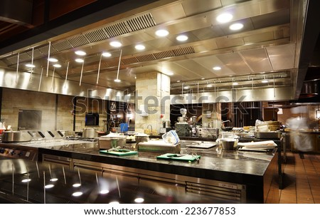 A modern kitchen in a hotel or restaurant - stock photo