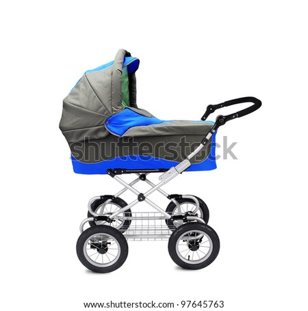 A modern pram isolated on white backgrond - stock photo