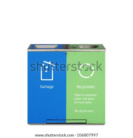 A modern recycle bin with garbage and recycle symbols printed on its side, isolated against white. - stock photo