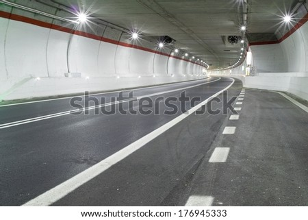 a modern road tunnel - stock photo